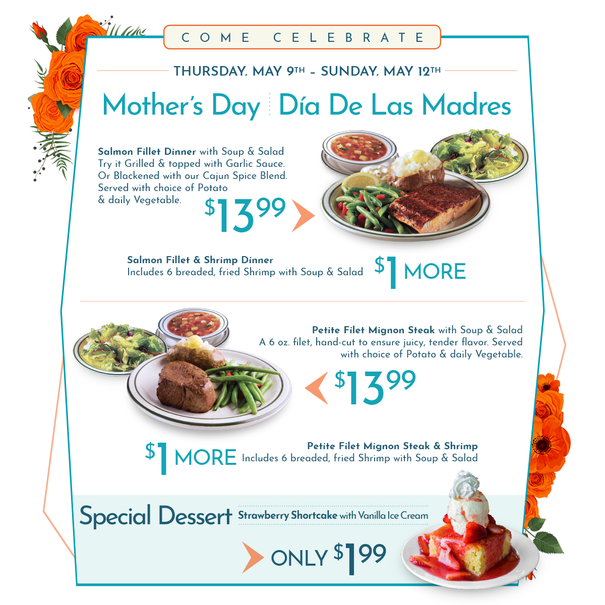 Norms Mother's Day Menu